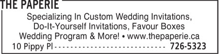 The Paperie (709-726-5323) - Annonce illustrée======= - Specializing In Custom Wedding Invitations, - Do-It-Yourself Invitations, Favour Boxes - Wedding Program & More! • www.thepaperie.ca