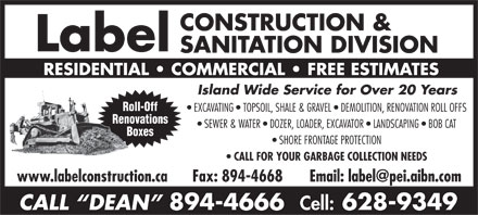 Label Construction & Sanitation Division (902-894-4666) - Annonce illustrée