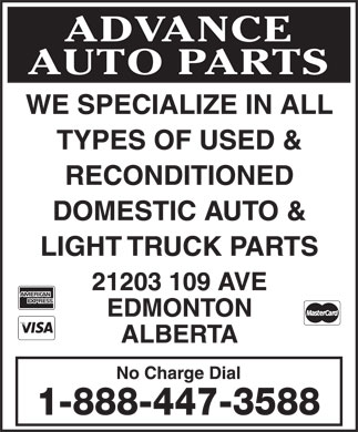 Advance Auto Parts Ltd (780-447-3588) - Display Ad