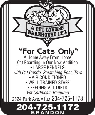 A Pet Lovers Warehouse Ltd (204-725-1172) - Display Ad