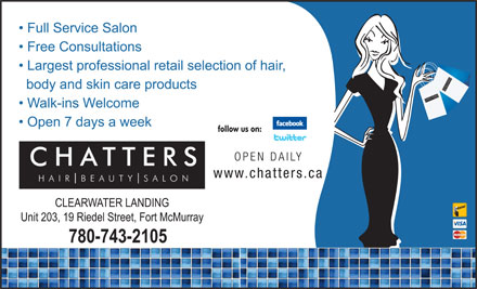 Chatters Salon & Beauty Supply Outlet (780-792-0987) - Annonce illustrée