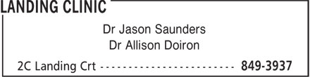 Saunders Jason Dr (506-849-3937) - Display Ad - Dr Jason Saunders Dr Allison Doiron