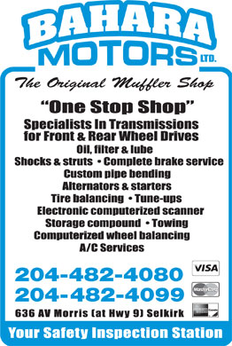 Bahara Motors Ltd (204-482-4080) - Display Ad - The Original Muffler Shop