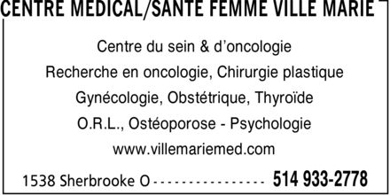 Centre M&eacute;dical/Sant&eacute; Femme Ville Marie (514-933-2778) - Annonce illustr&eacute;e