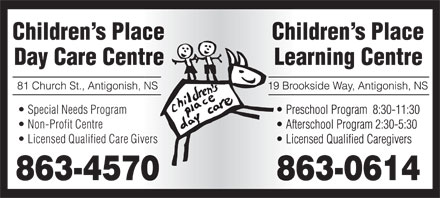 Children's Place Day Care (902-863-4570) - Display Ad - Special Needs Program Non-Profit Centre Licensed Qualified Care Givers Special Needs Program Non-Profit Centre Licensed Qualified Care Givers  Special Needs Program Non-Profit Centre Licensed Qualified Care Givers Special Needs Program Non-Profit Centre Licensed Qualified Care Givers