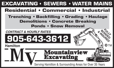 Mountainview Excavating (905-643-3612) - Annonce illustrée