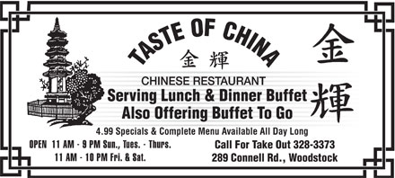 Taste Of China (506-328-3373) - Annonce illustrée