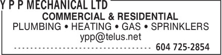 Y P P Mechanical Ltd (604-872-0036) - Annonce illustrée