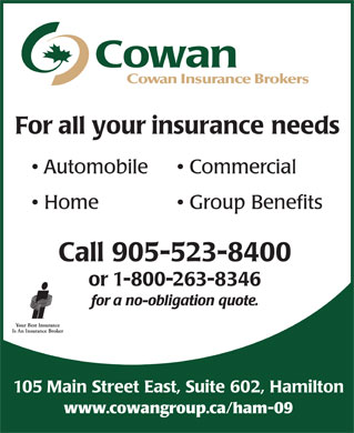 Cowan Insurance Brokers (1-866-585-3604) - Annonce illustrée - Cowan Insurance Brokers