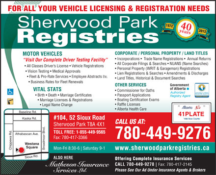 Sherwood Park Registries (780-417-5283) - Display Ad