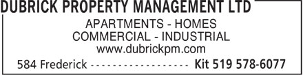 Dubrick Property Management Ltd (519-578-6077) - Display Ad