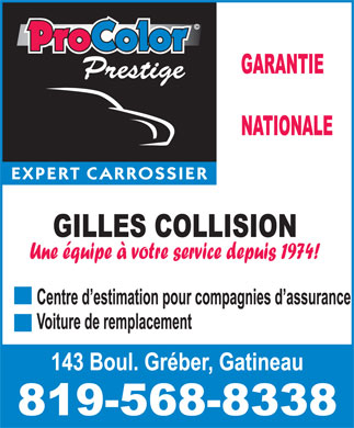Gilles Collision (819-568-8338) - Display Ad