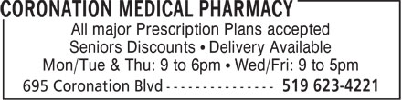 Coronation Medical Pharmacy (519-623-4221) - Display Ad