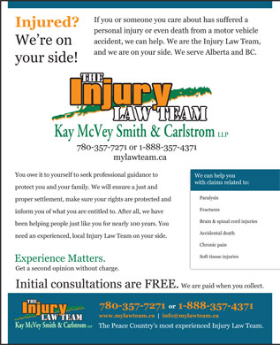 Kay McVey Smith & Carlstrom LLP (780-357-3902) - Display Ad