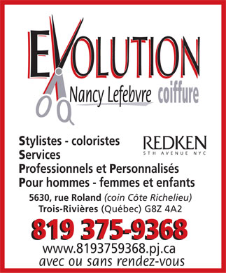 Evolution Coiffure Nancy Lefebvre (819-375-9368) - Display Ad