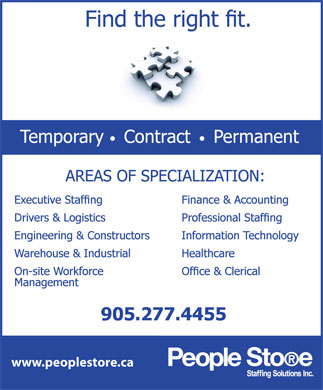 People Store Staffing Solutions Inc (905-277-4455) - Display Ad - www.peoplestore.ca