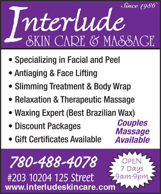 Interlude Skin & Massage (780-488-4078) - Display Ad