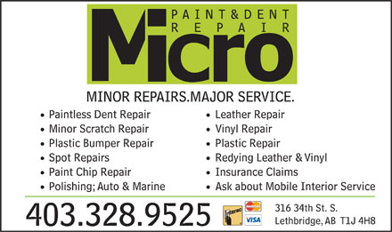 Micro Paint & Dent Repair (587-787-1699) - Display Ad