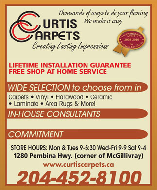 Curtis Carpets Ltd (204-452-8100) - Display Ad