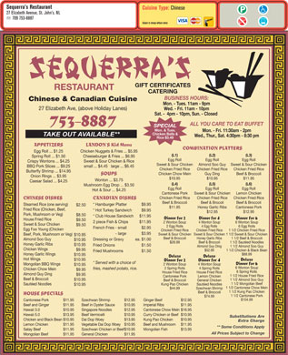 Sequerra's Restaurant (709-753-8887) - Display Ad