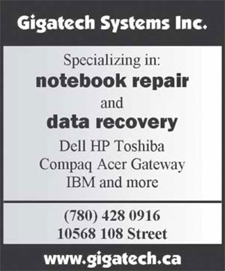 Gigatech Systems Inc (780-428-0916) - Display Ad