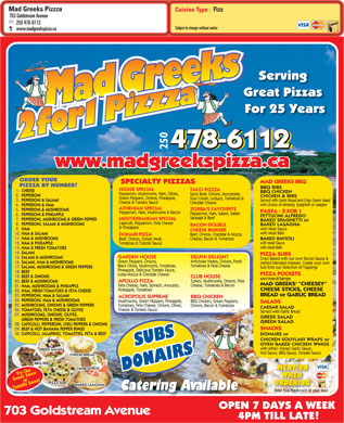 Mad Greeks Pizzza (250-478-6112) - Menu