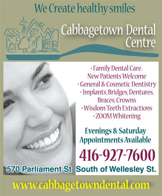 Cabbagetown Dental Centre (416-927-7600) - Display Ad