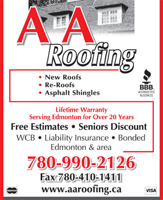 A A Roofing (780-412-1479) - Annonce illustrée - A A Roofing New Roofs Re-Roofs Asphalt Shingles Lifetime Warranty Serving Edmonton for Over 20 Years Free Estimates   Seniors Discount WCB   Liability Insurance   Bonded Edmonton & area 780-990-2126 Fax 780-410-1411 www.aaroofing.ca