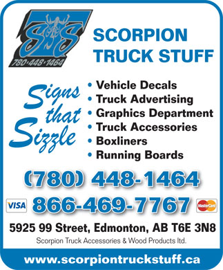 Scorpion Truck Accessories & Wood Products Ltd (780-448-1464) - Display Ad