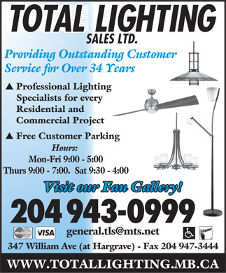 Total Lighting Sales (204-943-0999) - Display Ad