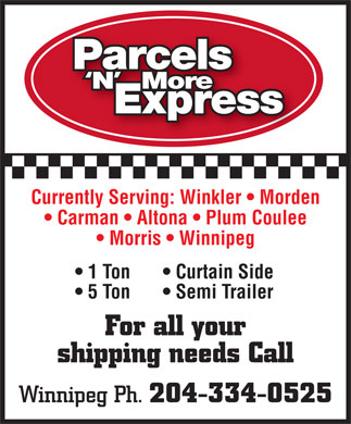 Parcels 'N' More Express (204-334-0525) - Display Ad