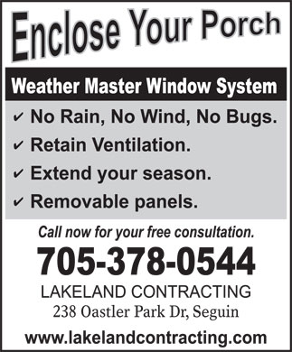 Lakeland Contracting (705-378-0544) - Display Ad - 238 Oastler Park Dr, Seguin