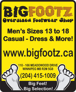Big Footz Oversized Sneaker Shop (204-415-1009) - Annonce illustrée