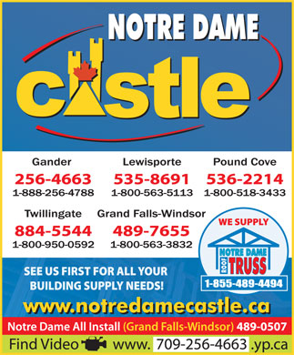 Notre Dame Castle Building Centre (709-256-4663) - Display Ad