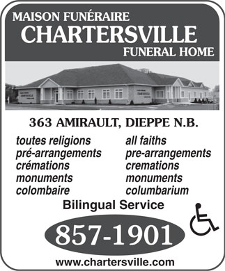 Chartersville Funeral Home Ltd (506-857-1901) - Display Ad