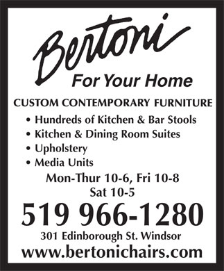 Bertoni For Your Home (519-966-1280) - Annonce illustrée