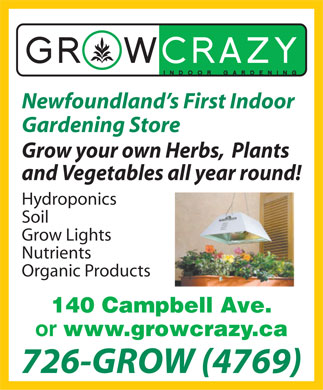 Grow Crazy (709-726-4769) - Display Ad