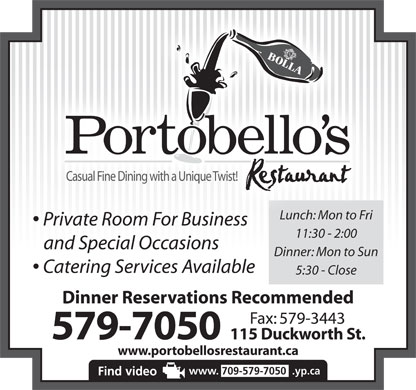 Portobello's (709-700-0983) - Annonce illustr&eacute;e