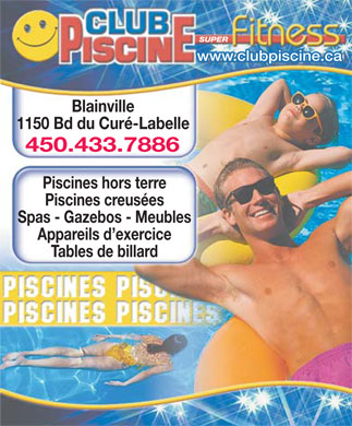 Club piscine super fitness 450 433 2744 display ad for Club piscine liquidation quebec