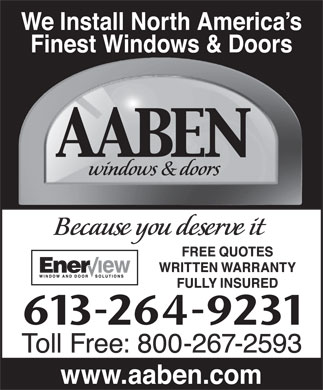 Aaben Windows & Doors (613-264-9231) - Annonce illustrée