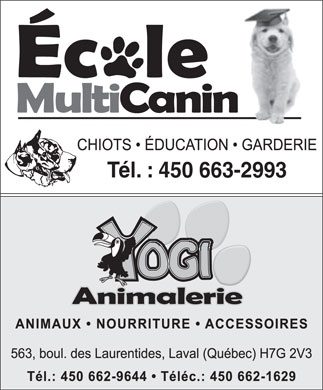 Centre Multi-Canin Inc (450-663-2993) - Annonce illustr&eacute;e