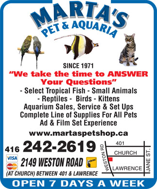Marta's Pet &amp; Aquaria (416-242-2619) - Annonce illustr&eacute;e - - Select Tropical Fish - Small Animals - Reptiles -  Birds - Kittens Aquarium Sales, Service &amp; Set Ups Complete Line of Supplies For All Pets Ad &amp; Film Set Experience www.martaspetshop.ca 2149 WESTON ROAD