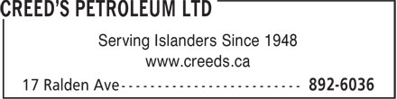 Creed's Petroleum Ltd (902-892-6036) - Annonce illustrée - Serving Islanders Since 1948 www.creeds.ca