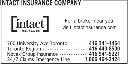 Intact Insurance Company (416-341-1464) - Annonce illustrée - For a broker near you, visit intactinsurance.com  For a broker near you, visit intactinsurance.com