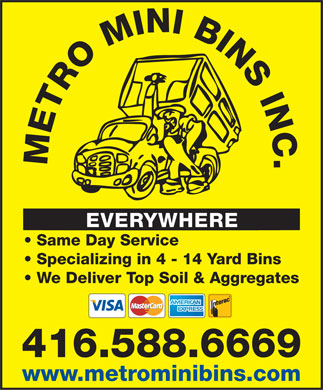 Metro Mini Bins (416-588-6669) - Display Ad