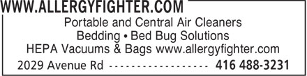 York Appliance Service Co (416-488-3231) - Annonce illustrée - Portable and Central Air Cleaners Bedding • Bed Bug Solutions HEPA Vacuums & Bags www.allergyfighter.com