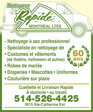 Nettoyeur Rapide Montr&eacute;al Lt&eacute;e (514-526-4425) - Annonce illustr&eacute;e