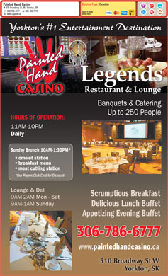 Painted Hand Casino (306-786-6777) - Menu