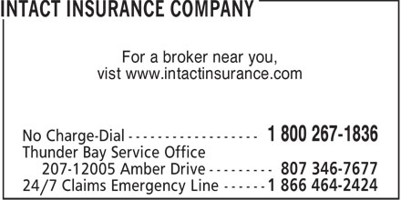 Intact Insurance Company (1-800-267-1836) - Annonce illustrée - For a broker near you, vist www.intactinsurance.com