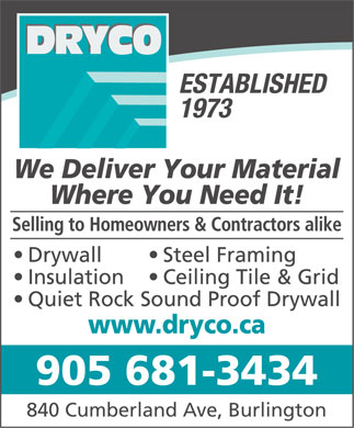 Dryco (905-681-3434) - Display Ad - 905 681-3434 840 Cumberland Ave, Burlington